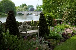 Bingham garden bench and river view