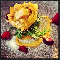 Goat's Cheese, celeriac, roast crown prince squash and sweet onion tartlet, smoket beets and chervil
