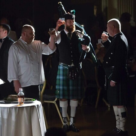 Traditional bagpiper for Burns night