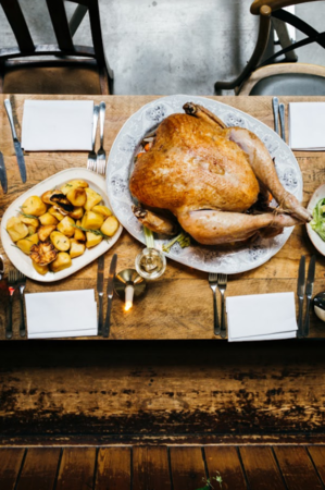 Thanksgiving Feast with Four Roses