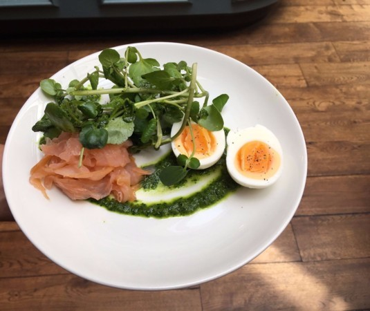 Salmon, Burford Brown Egg, Watercress