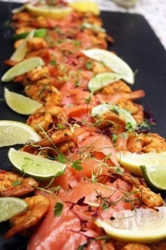 Smoked Salmon and prawn platter, Champagne and Seafood Bar